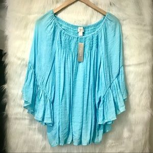 CHICO'S SKY BLUE PLEATED BLOUSE W/WIDE SLEEVES
